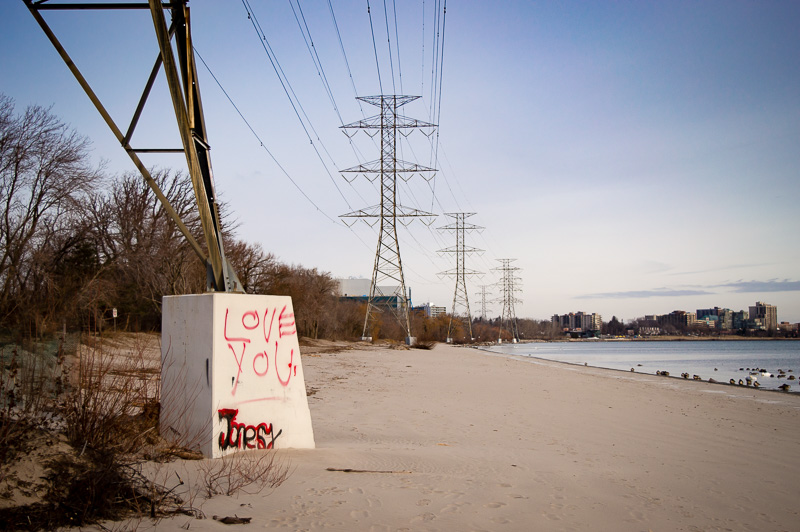 Love graffiti at the beach, Burlington Ontario