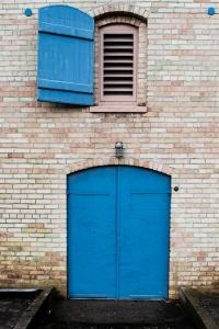 Seagram Lofts blue window and door, Waterloo Ontario