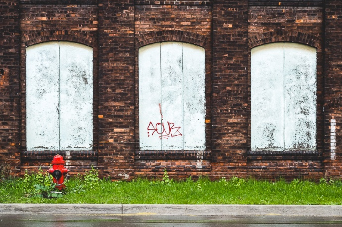 boarded up windows and a fire hydrant, Hamilton Ontario