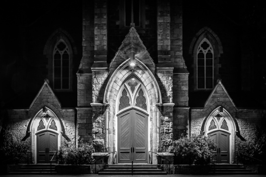 Knox's Galt Presbyterian Church doors at night, Cambridge Ontario